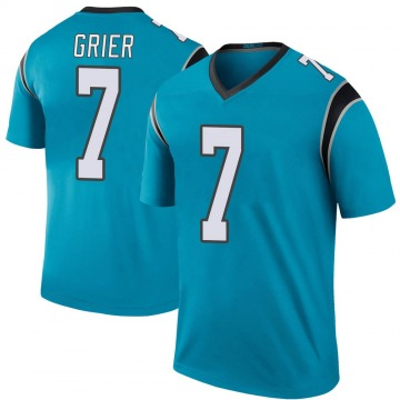Youth Nike Carolina Panthers Will Grier Blue Color Rush Jersey - Legend