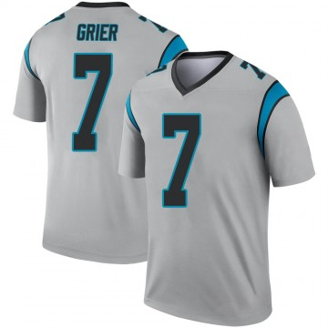 Youth Nike Carolina Panthers Will Grier Inverted Silver Jersey - Legend