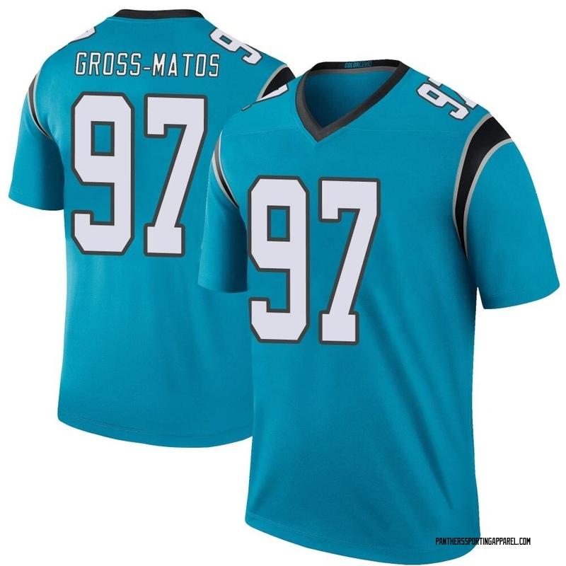 Youth Nike Carolina Panthers Yetur Gross-Matos Blue Color Rush Jersey - Legend