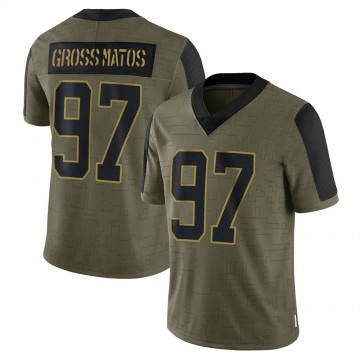Youth Nike Carolina Panthers Yetur Gross-Matos Olive 2021 Salute To Service Jersey - Limited